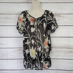 Mossimo | Floral Sheer Short Sleeve Top